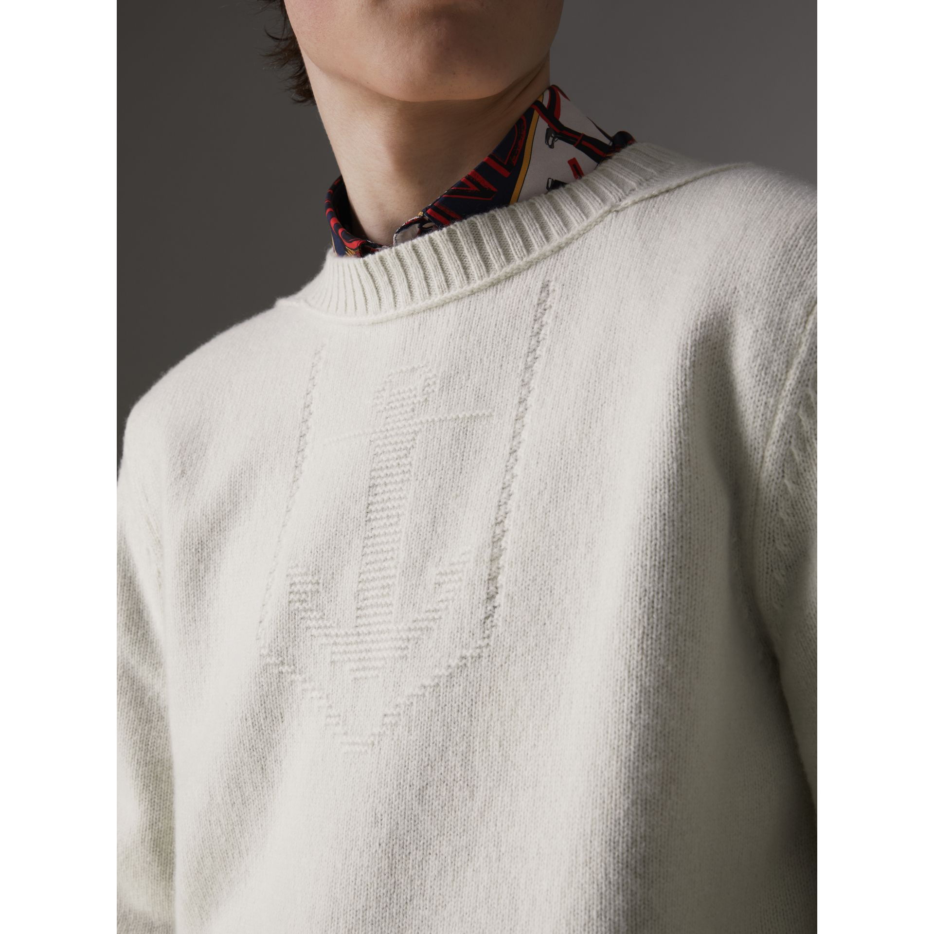 Anchor Intarsia Merino Wool Cashmere Sweater in Natural White - Men | Burberry Australia - gallery image 1
