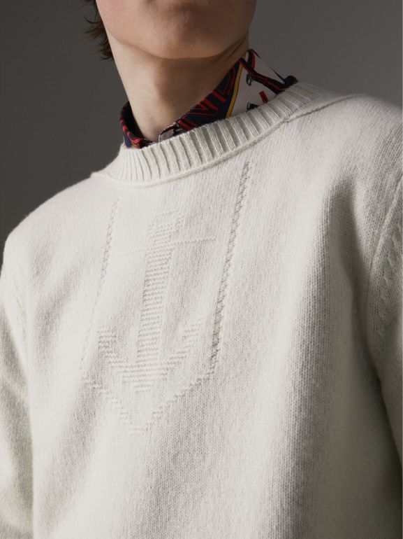 Anchor Intarsia Merino Wool Cashmere Sweater in Natural White - Men | Burberry Australia - cell image 1