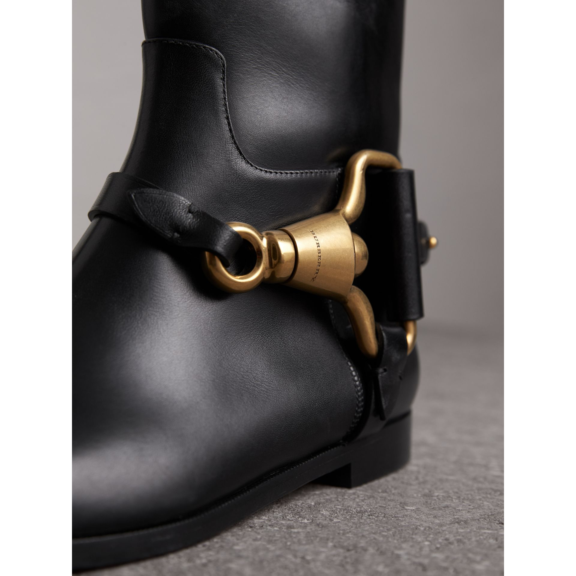 Equestrian Detail Leather Riding Boots in Black - Women | Burberry - gallery image 2