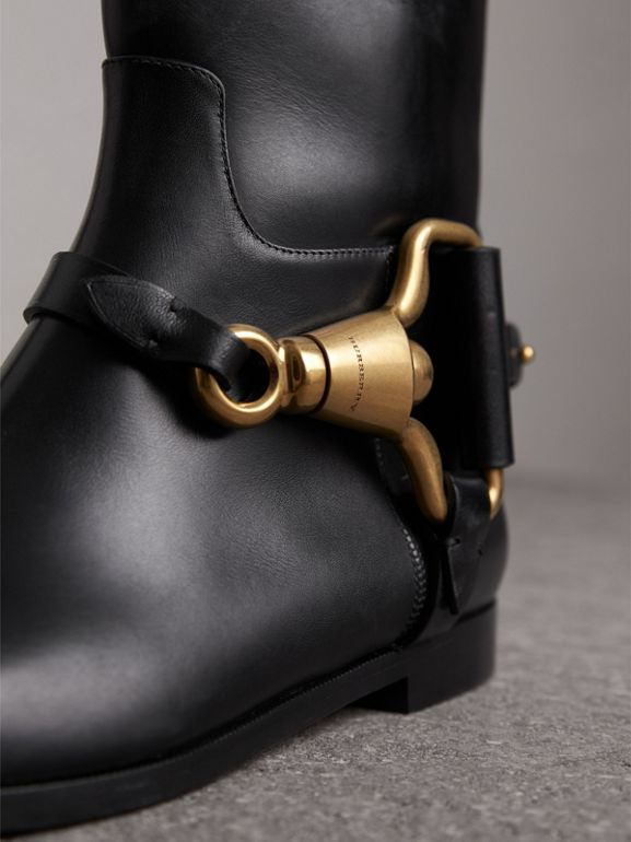 Equestrian Detail Leather Riding Boots in Black | Burberry United States - cell image 1