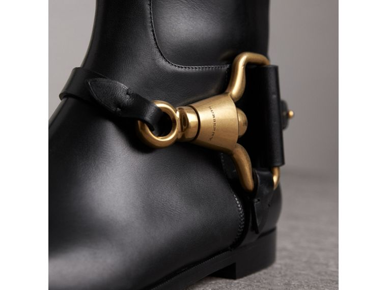 Equestrian Detail Leather Riding Boots in Black - Women | Burberry United Kingdom - cell image 1