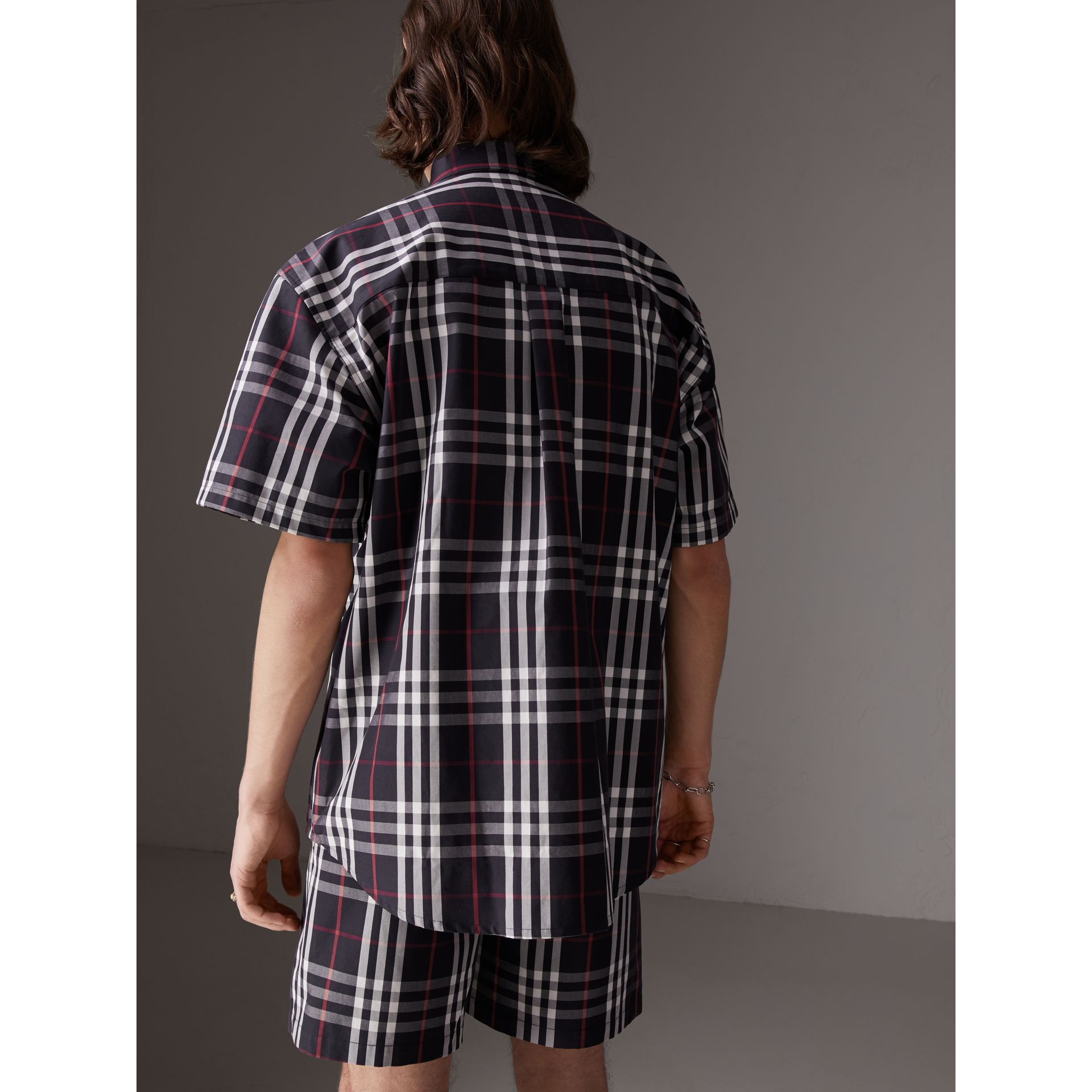 Gosha x Burberry Short-sleeve Check Shirt in Navy | Burberry Canada - gallery image 5