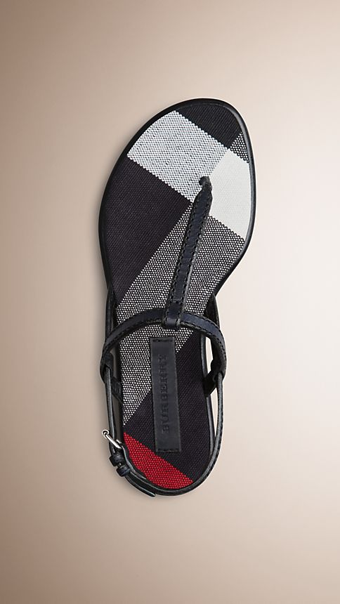 Navy Canvas Check and Leather Sandals - Image 1