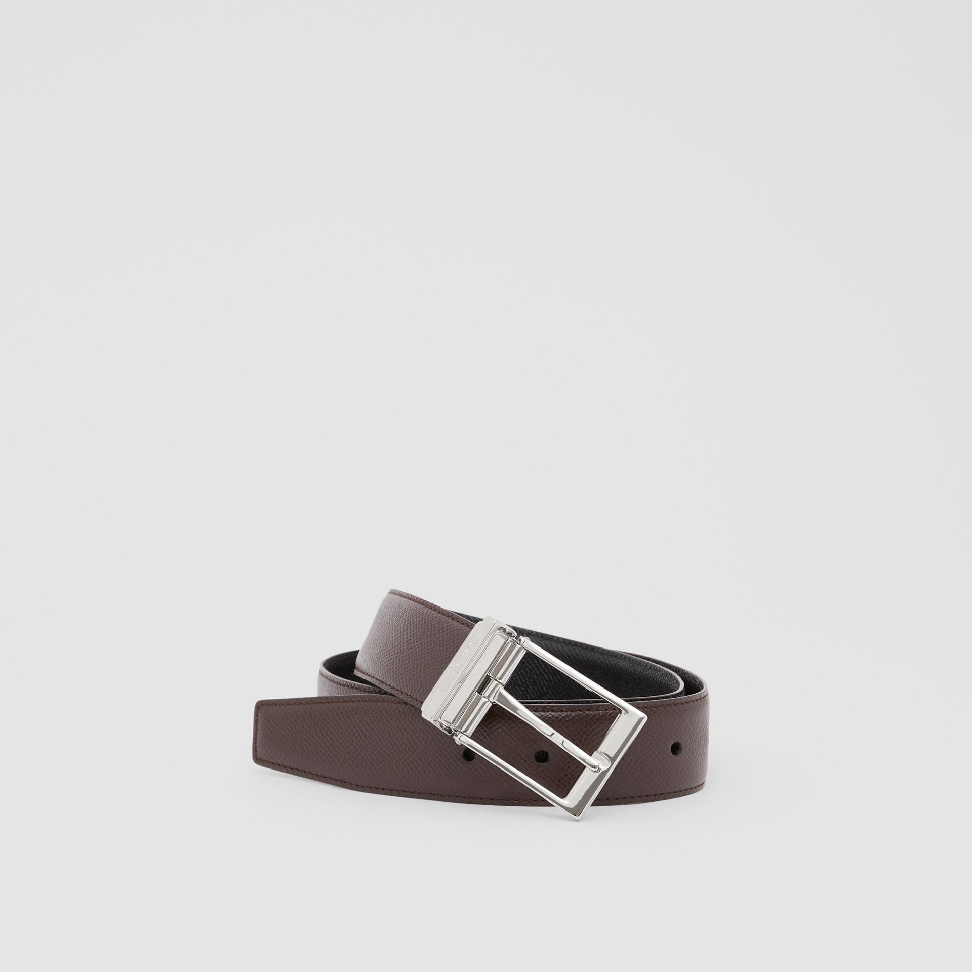 Reversible Grainy Leather Belt in Black/chocolate - Men | Burberry United Kingdom - gallery image 0