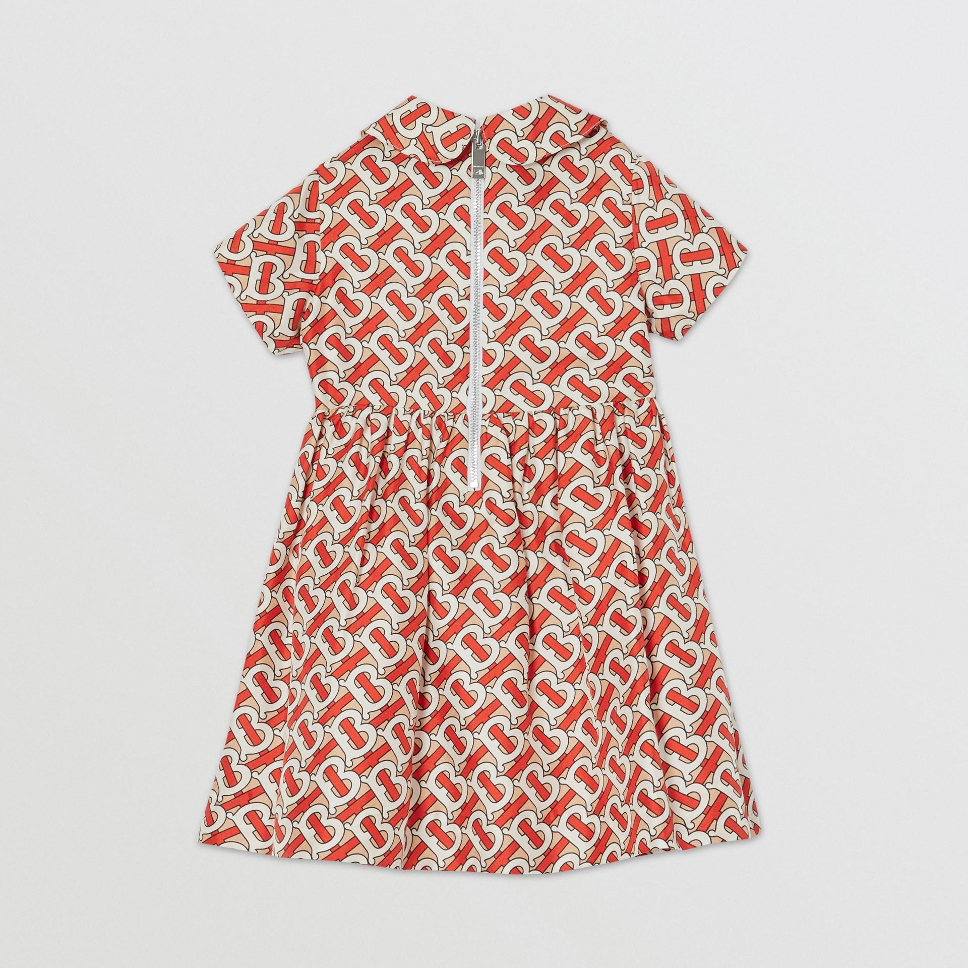 Peter Pan Collar Monogram Print Silk Dress in Vermilion Red - Children   Burberry - gallery image 3