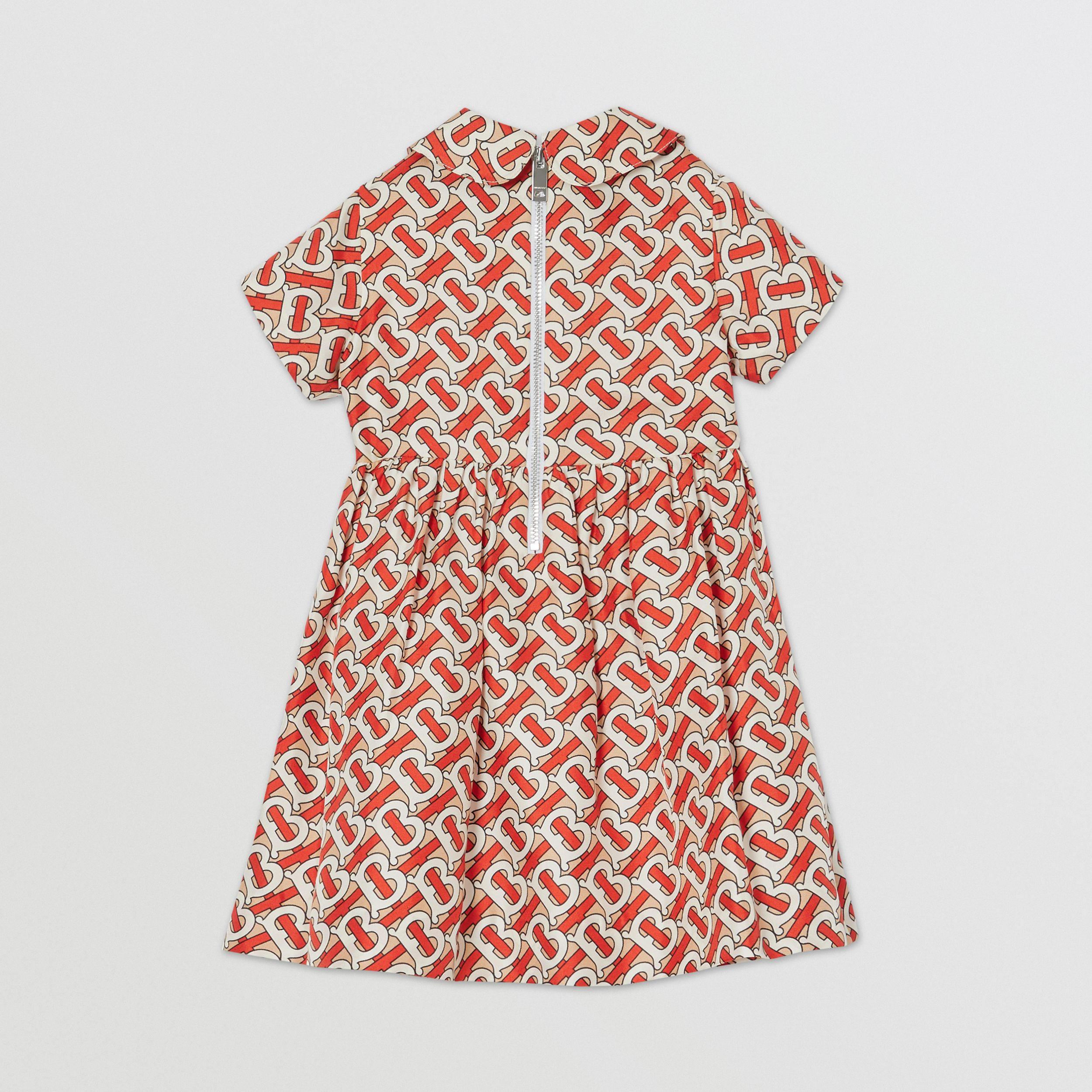 Peter Pan Collar Monogram Print Silk Dress in Vermilion Red - Children | Burberry - 4