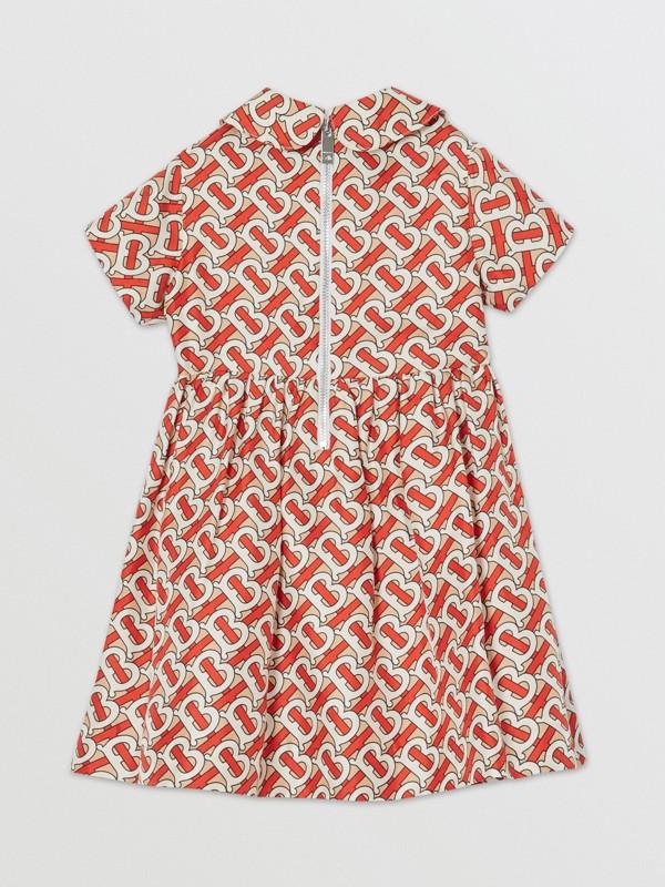 Peter Pan Collar Monogram Print Silk Dress in Vermilion Red - Children   Burberry - cell image 3