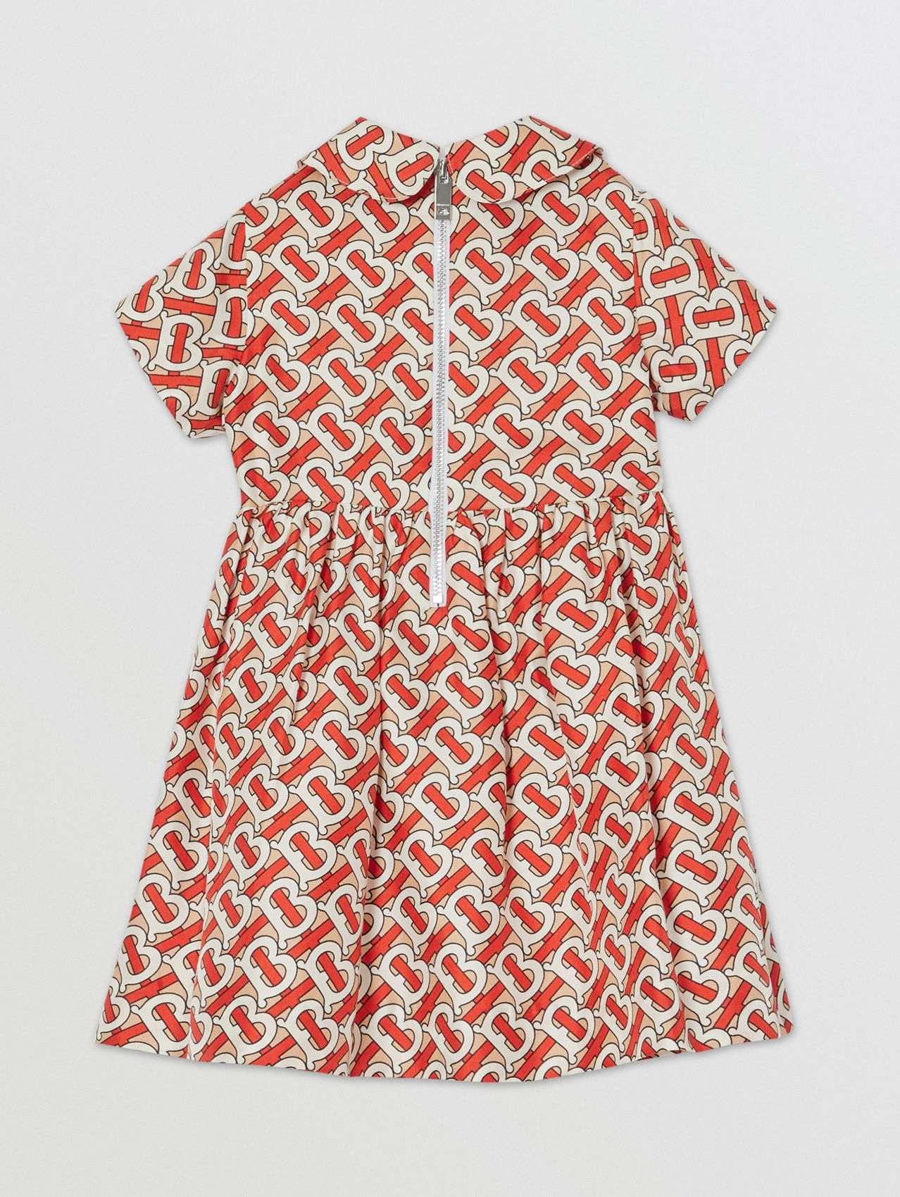 Peter Pan Collar Monogram Print Silk Dress in Vermilion Red