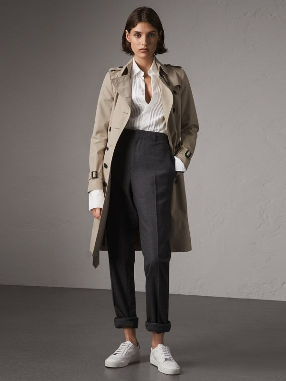 The Chelsea – Long Trench Coat in Stone