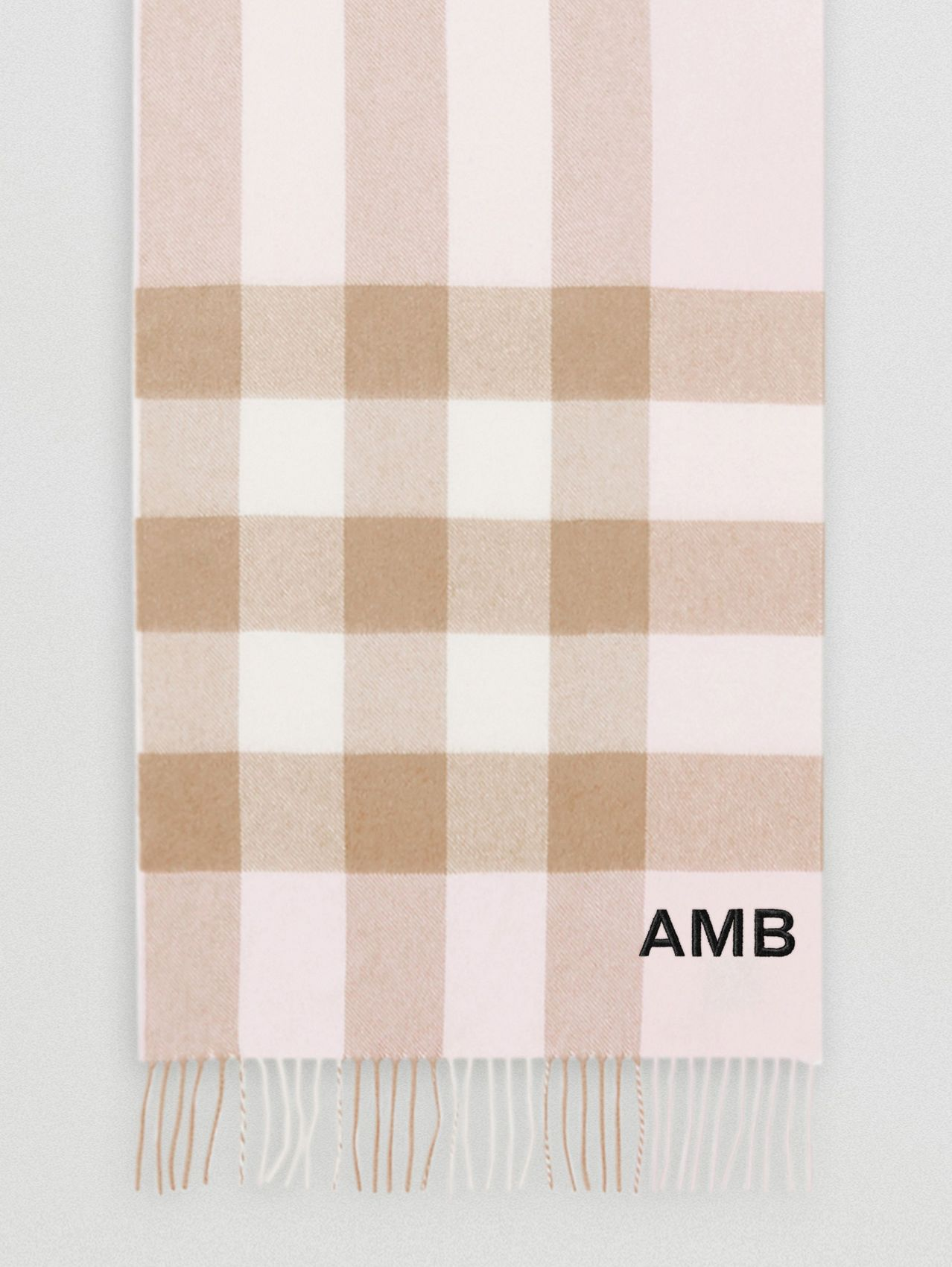 Check Cashmere Scarf in Alabaster Pink