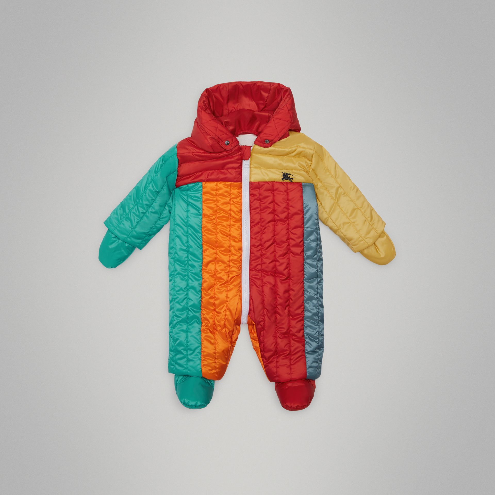Colour Block Quilted Puffer Suit in Orange Red - Children | Burberry United Kingdom - gallery image 0