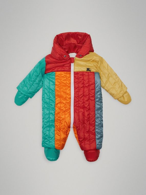Colour Block Quilted Puffer Suit in Orange Red