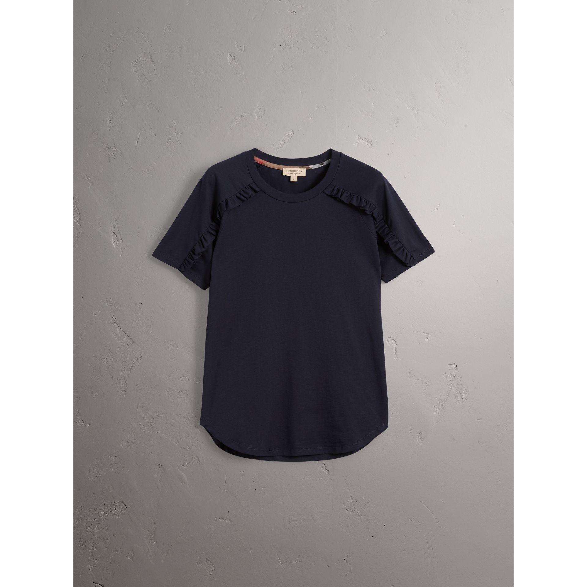 Ruffle Detail Cotton Jersey T-shirt in True Navy - Women | Burberry - gallery image 3