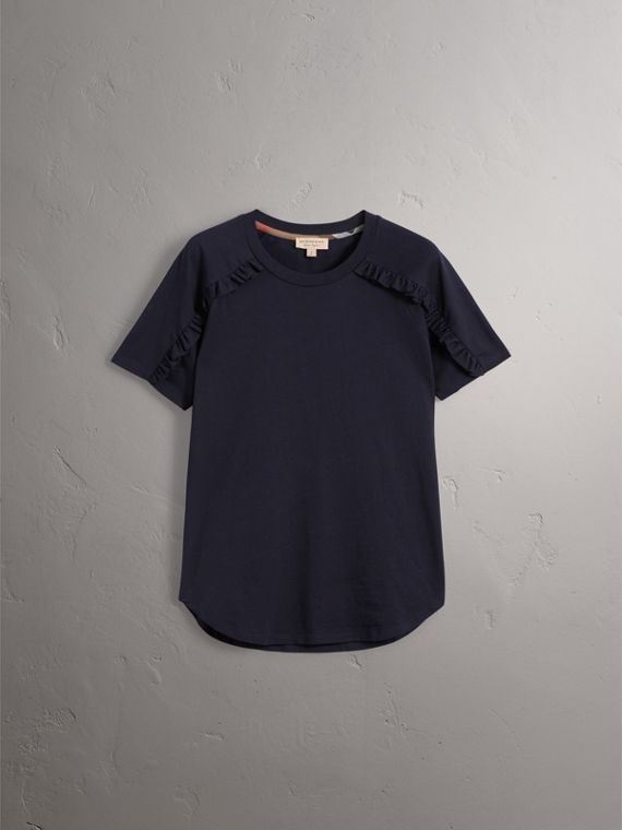 Ruffle Detail Cotton Jersey T-shirt in True Navy - Women | Burberry - cell image 2