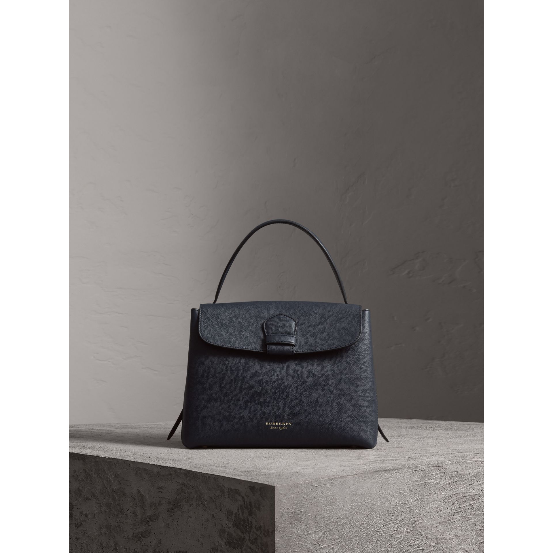 Medium Grainy Leather and House Check Tote Bag in Ink Blue - Women | Burberry - gallery image 8