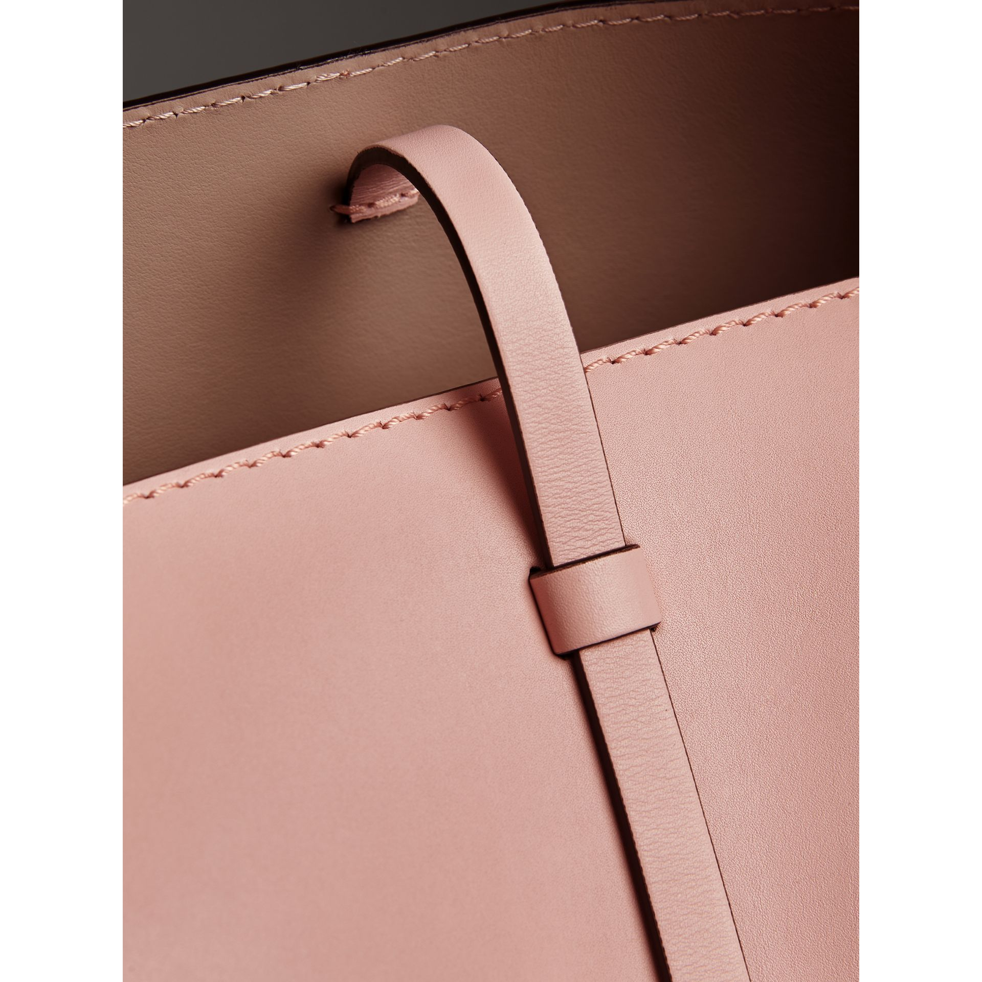 The Small Leather Bucket Bag in Pale Ash Rose - Women | Burberry - gallery image 1