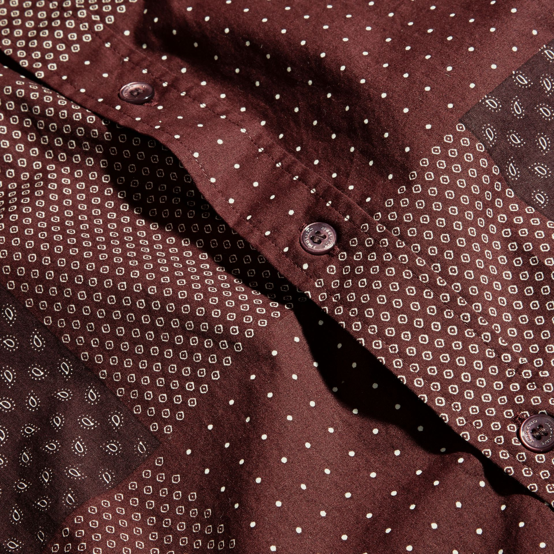 Dark elderberry Patchwork Print Cotton Shirt Dark Elderberry - gallery image 2
