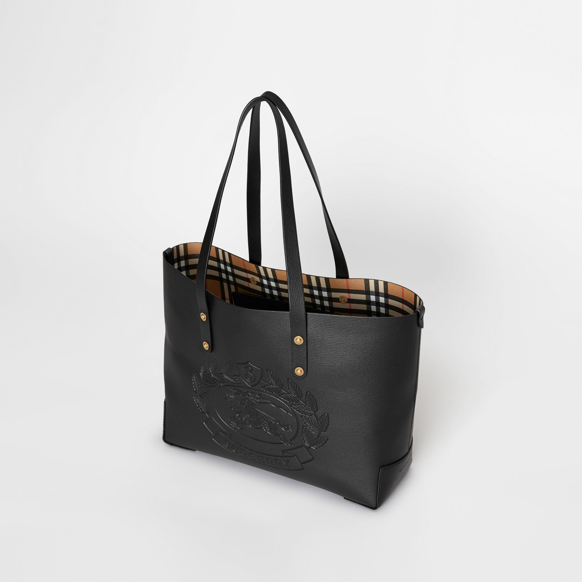 Small Embossed Crest Leather Tote in Black | Burberry - gallery image 2