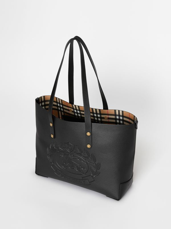 Small Embossed Crest Leather Tote in Black | Burberry - cell image 2