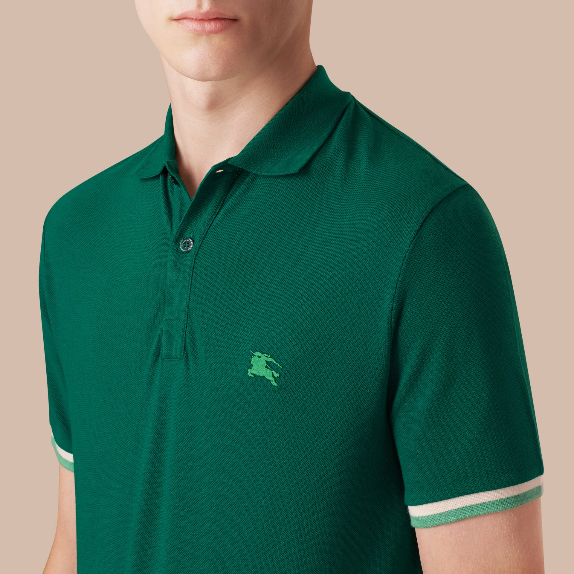 Deep viridian green Contrast Cuff Cotton Piqué Polo Shirt Deep Viridian Green - gallery image 3