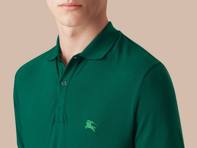 Deep viridian green Contrast Cuff Cotton Piqué Polo Shirt Deep Viridian Green - cell image 2