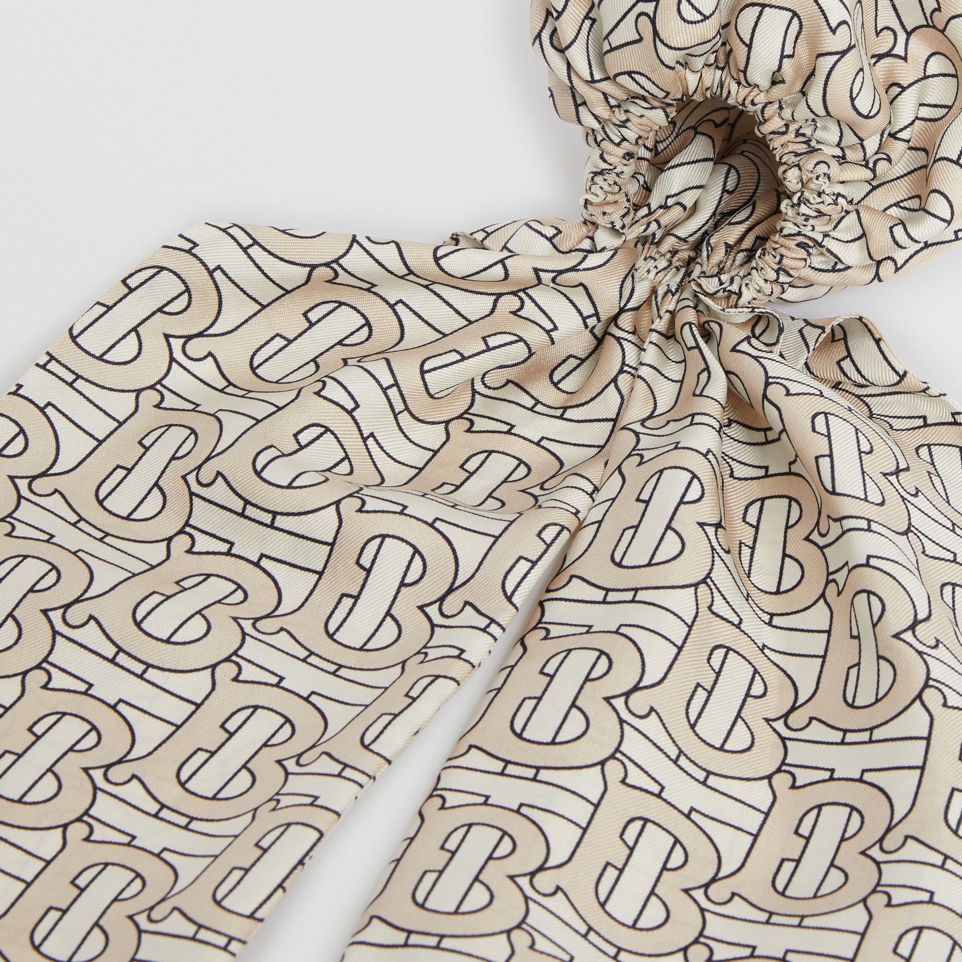 Monogram Print Silk Hair Scarf in Sesame - Women | Burberry - gallery image 1