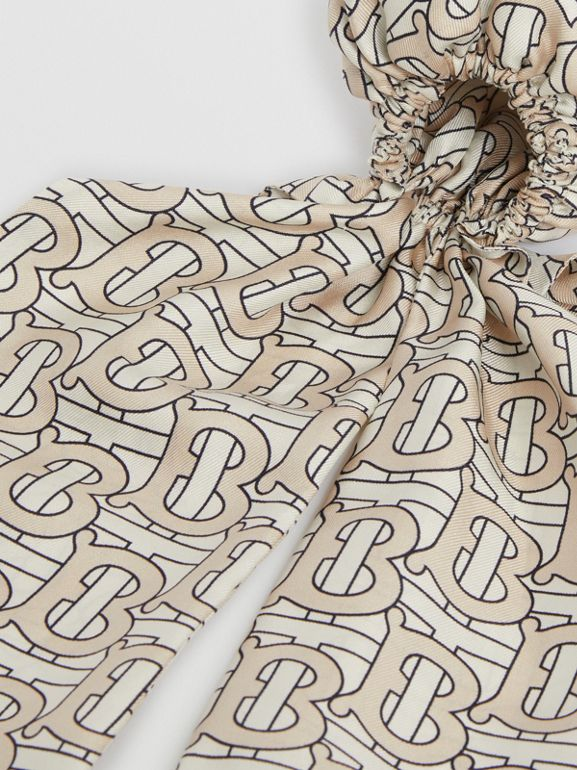 Monogram Print Silk Hair Scarf in Sesame - Women | Burberry - cell image 1