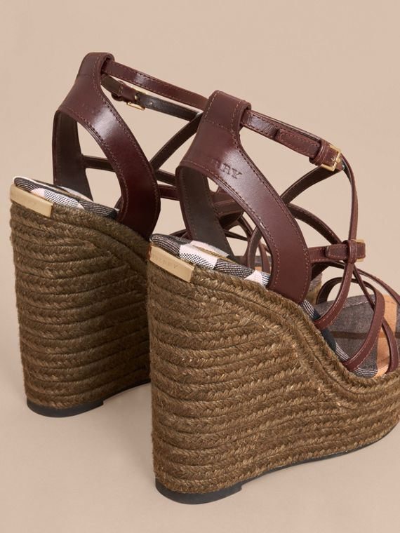 Leather Platform Espadrille Wedge Sandals - Women | Burberry - cell image 3