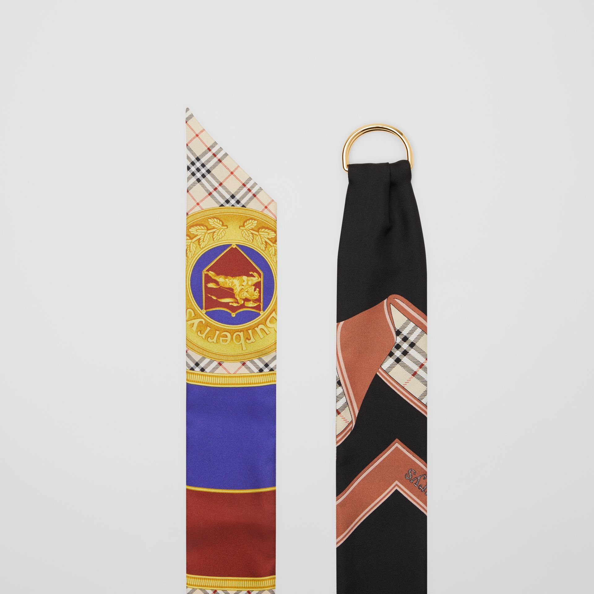 D-ring Detail Archive Print Silk Skinny Scarf in Multicolour - Women | Burberry - gallery image 2