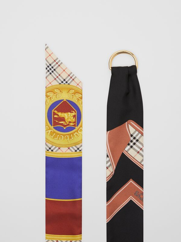 D-ring Detail Archive Print Silk Skinny Scarf in Multicolour - Women | Burberry - cell image 2