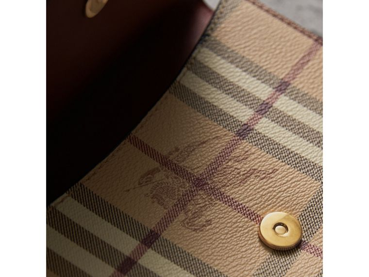 Leather and Haymarket Check Wristlet Wallet in Bright Toffee/multicolour - Women | Burberry - cell image 1