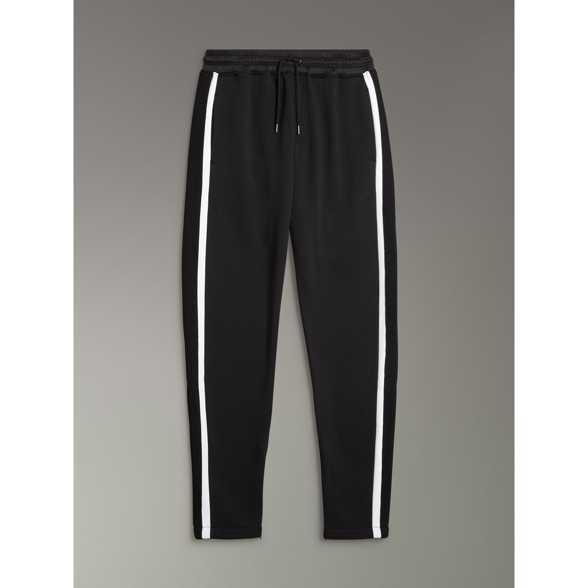 Stripe Detail Cotton Blend Jersey Sweatpants in Black - Men | Burberry United Kingdom - gallery image 3
