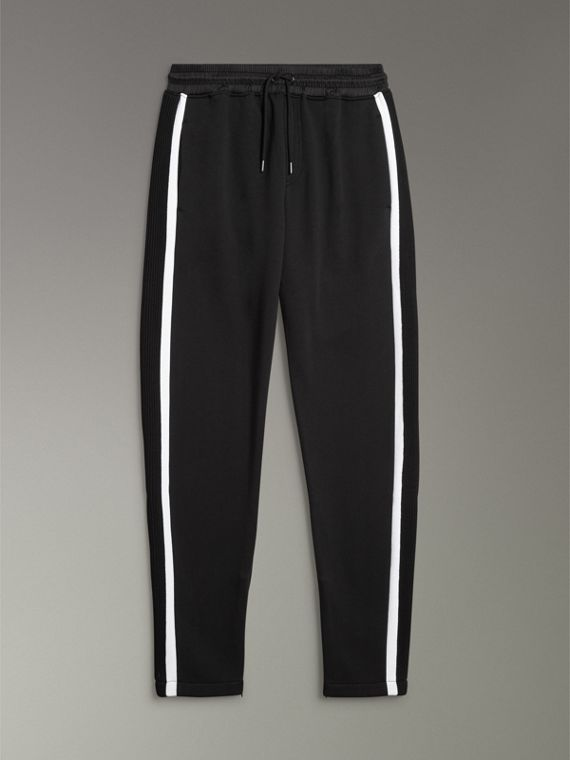 Stripe Detail Cotton Blend Jersey Sweatpants in Black - Men | Burberry United Kingdom - cell image 3