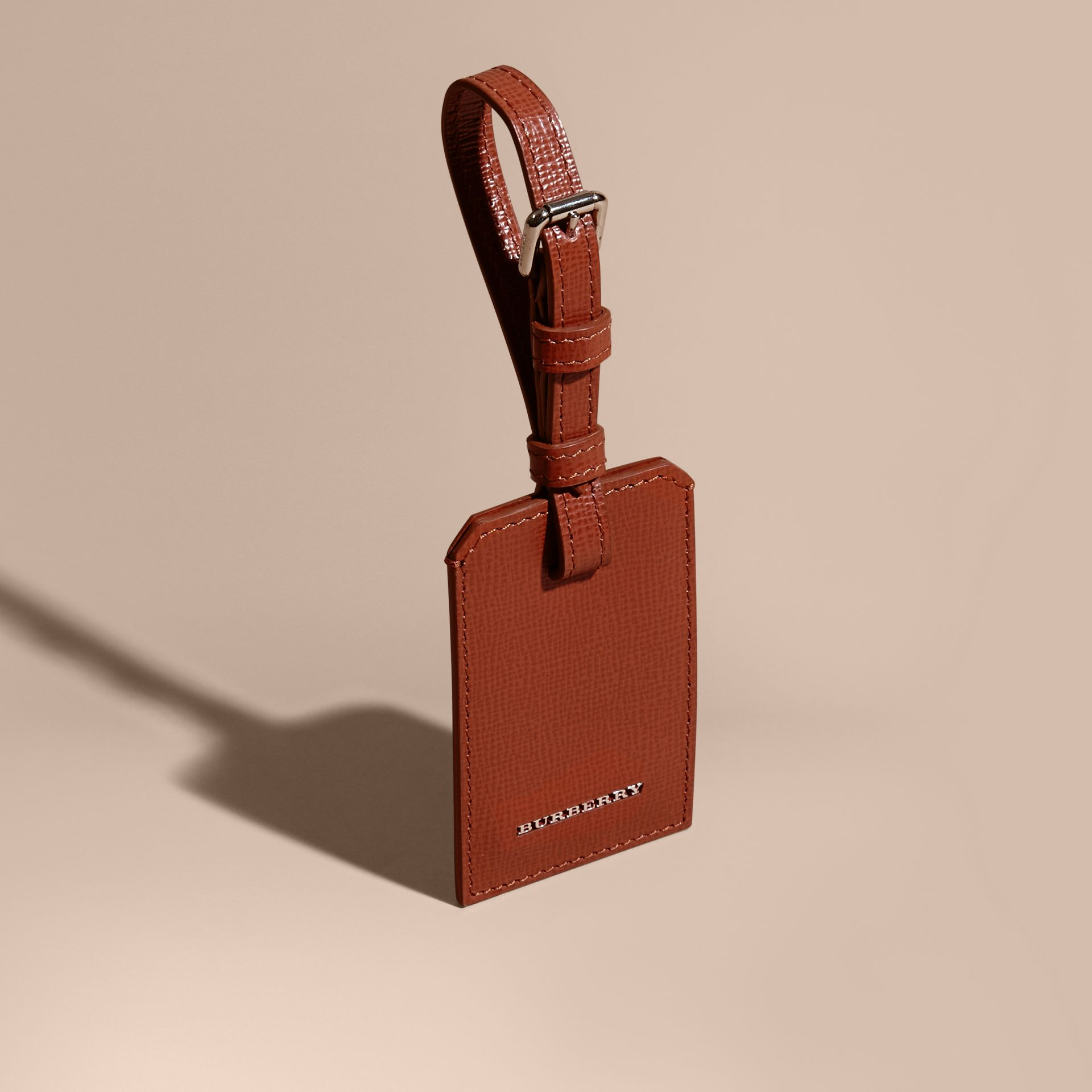 London Leather Luggage Tag Burnt Sienna - gallery image 1