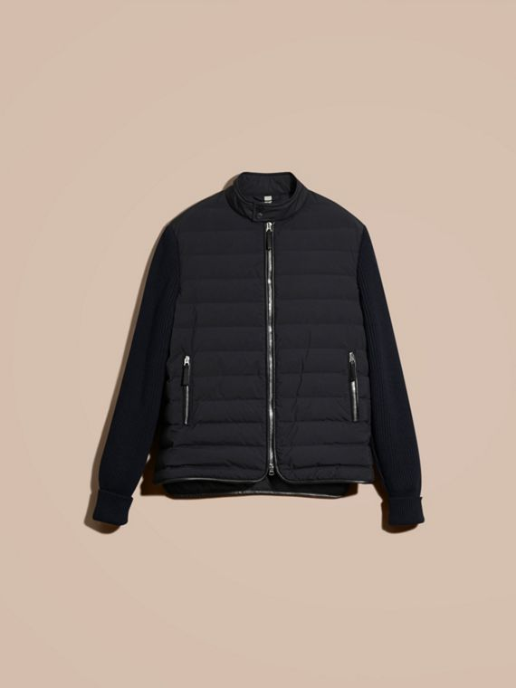 Navy Down-Filled Jacket with Knitted Sleeves - cell image 3