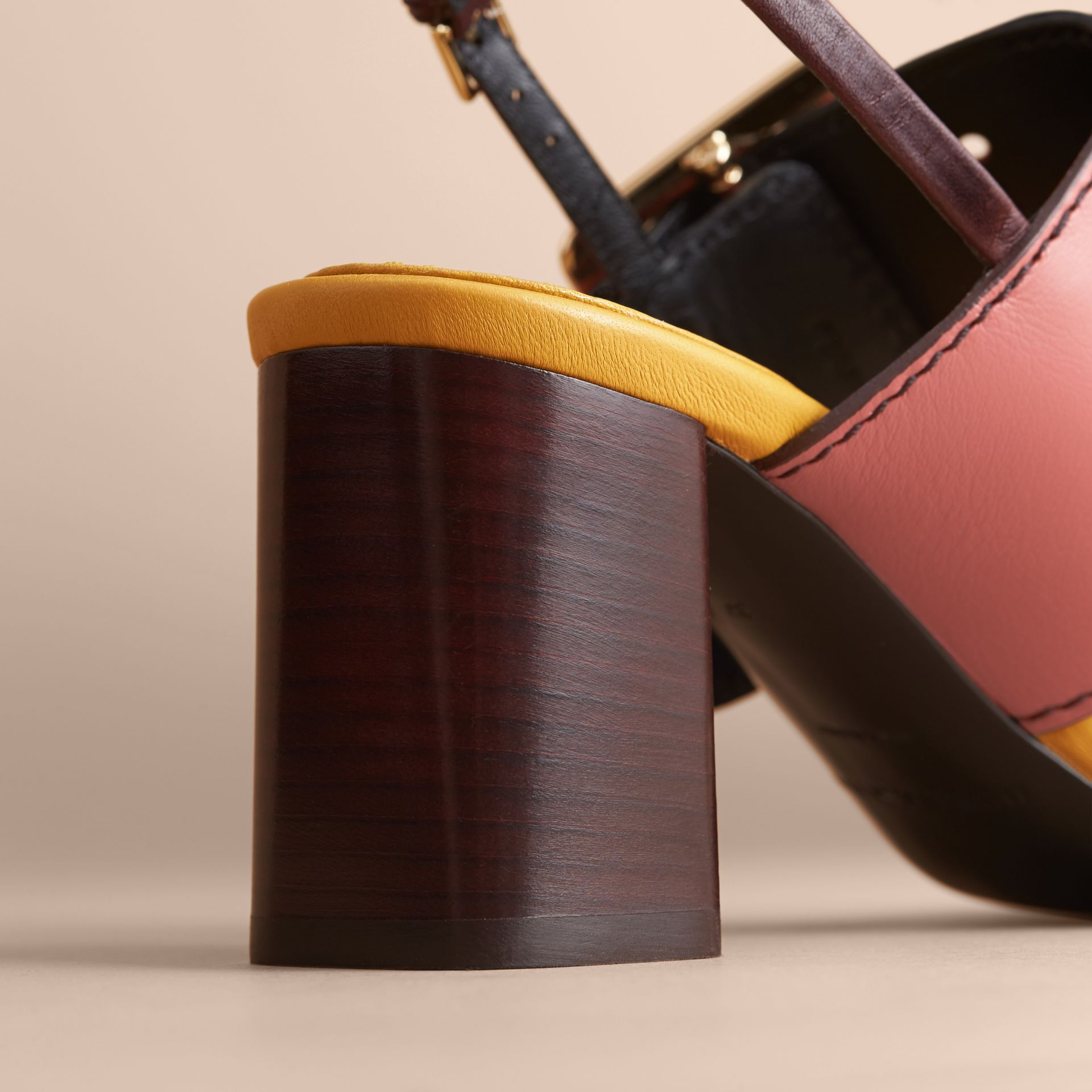 Colour Block Leather Sandals with Buckle Detail - gallery image 5