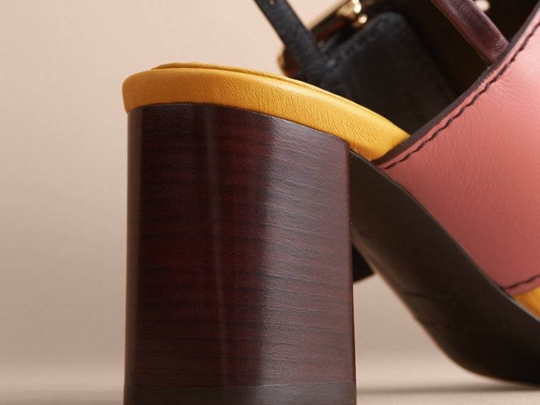 Colour Block Leather Sandals with Buckle Detail - cell image 4