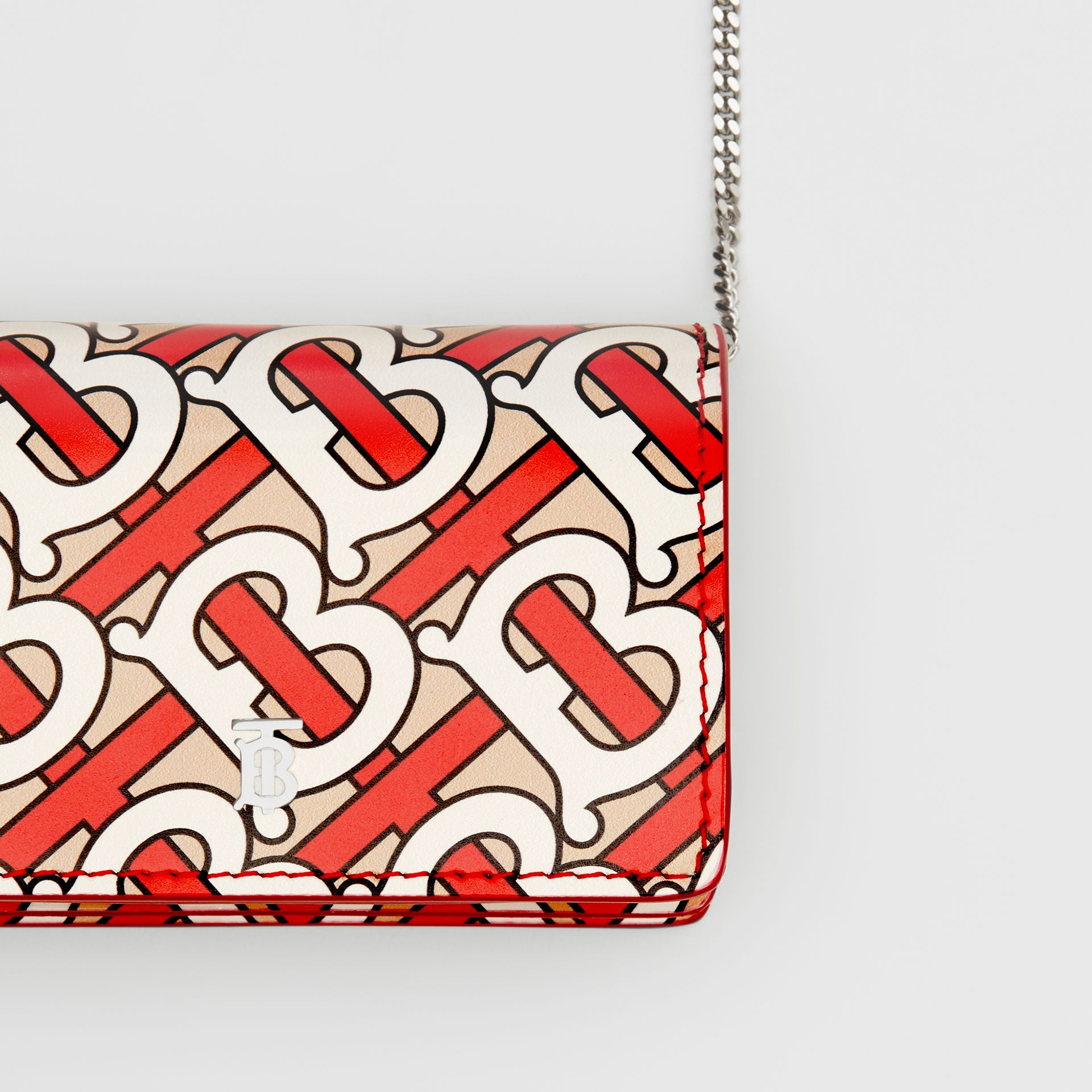 Monogram Print Card Case with Detachable Strap in Vermilion - Women | Burberry - gallery image 1