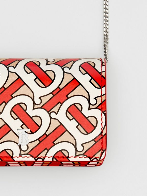 Monogram Print Card Case with Detachable Strap in Vermilion - Women | Burberry - cell image 1