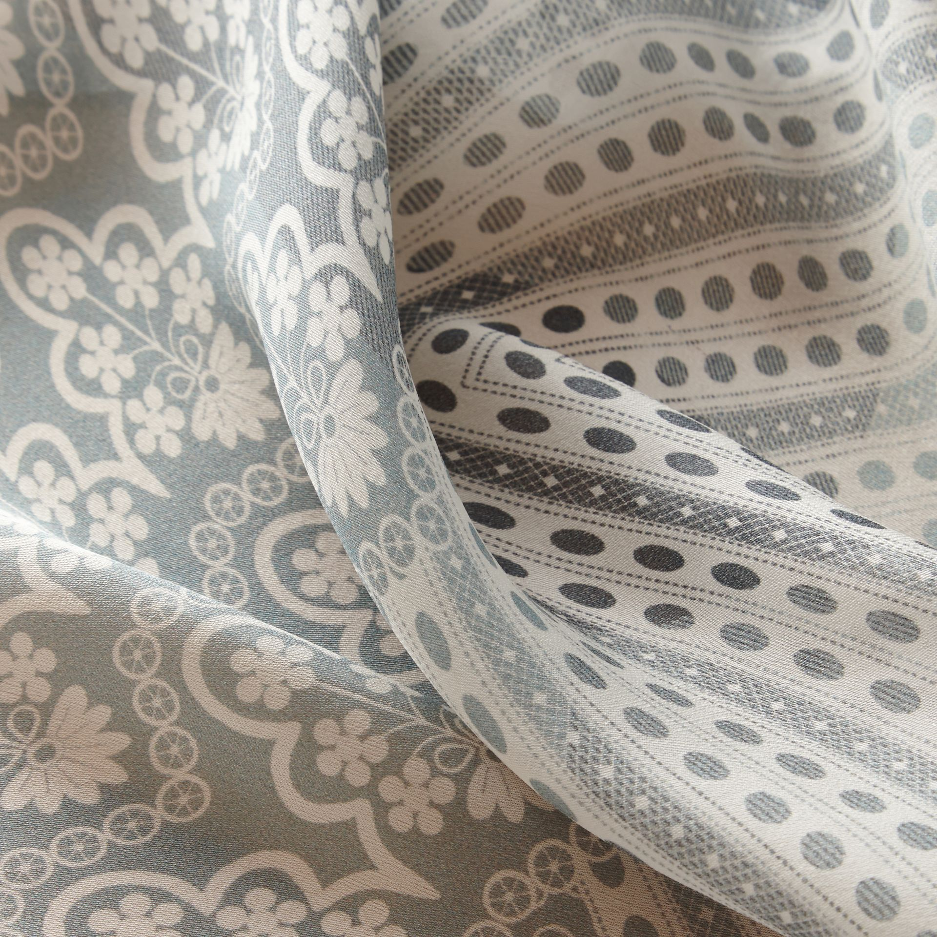 Floral Lace and Check Print Silk Scarf in Slate Blue - Women | Burberry - gallery image 2