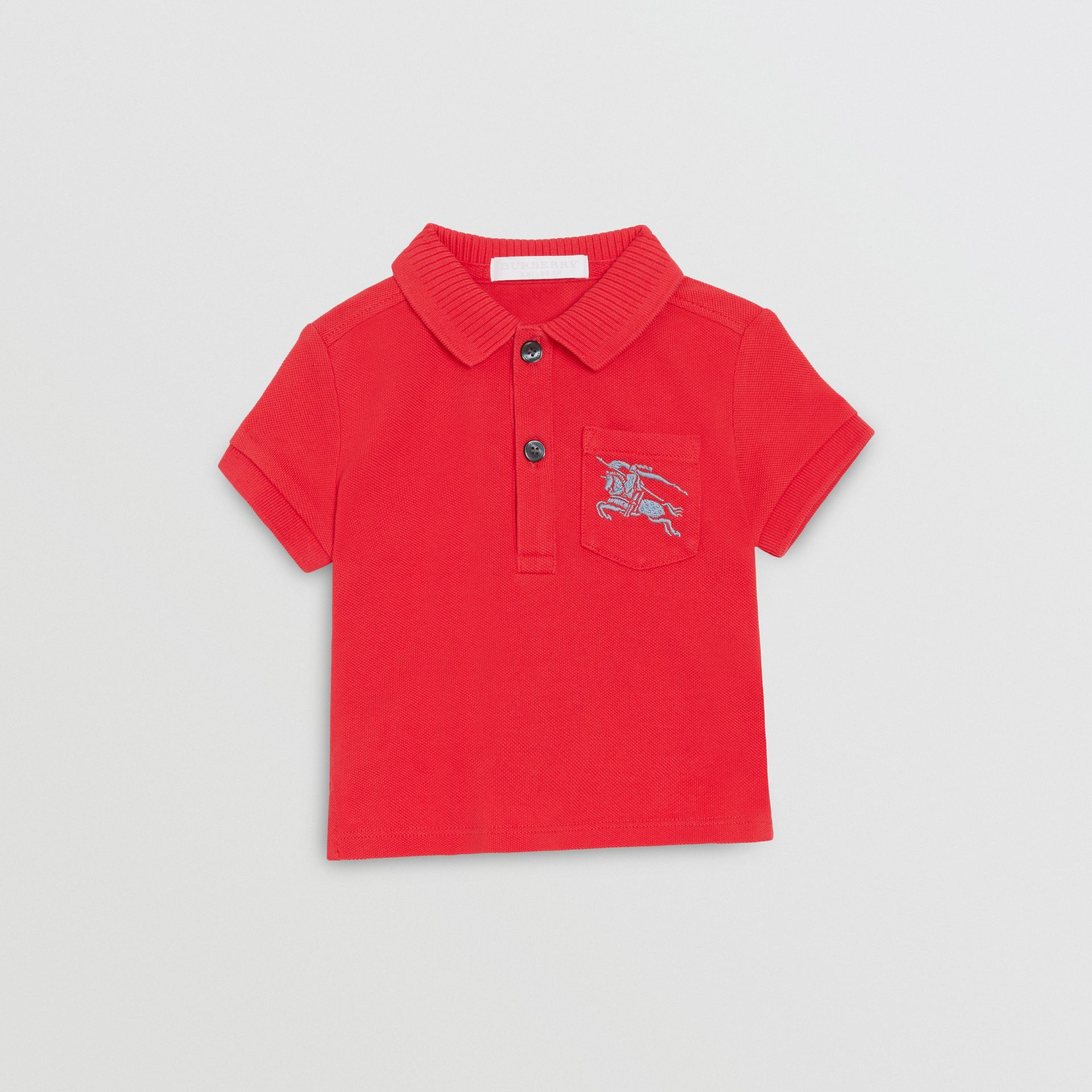 EKD Logo Cotton Piqué Polo Shirt in Bright Red - Children | Burberry United Kingdom - gallery image 0