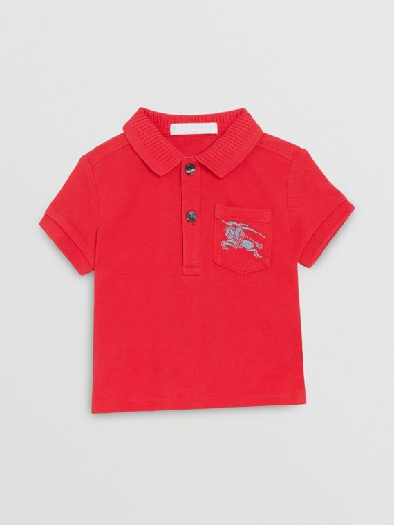 EKD Logo Cotton Piqué Polo Shirt in Bright Red