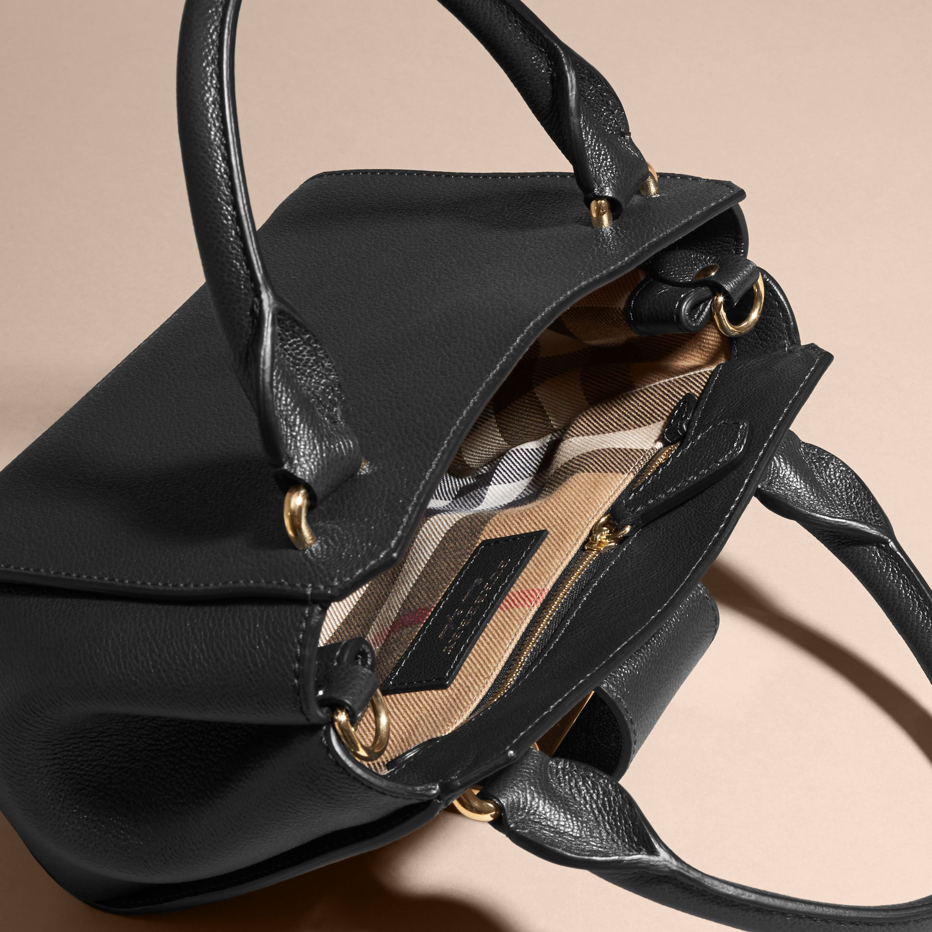 The Small Buckle Tote in Grainy Leather Black - gallery image 6
