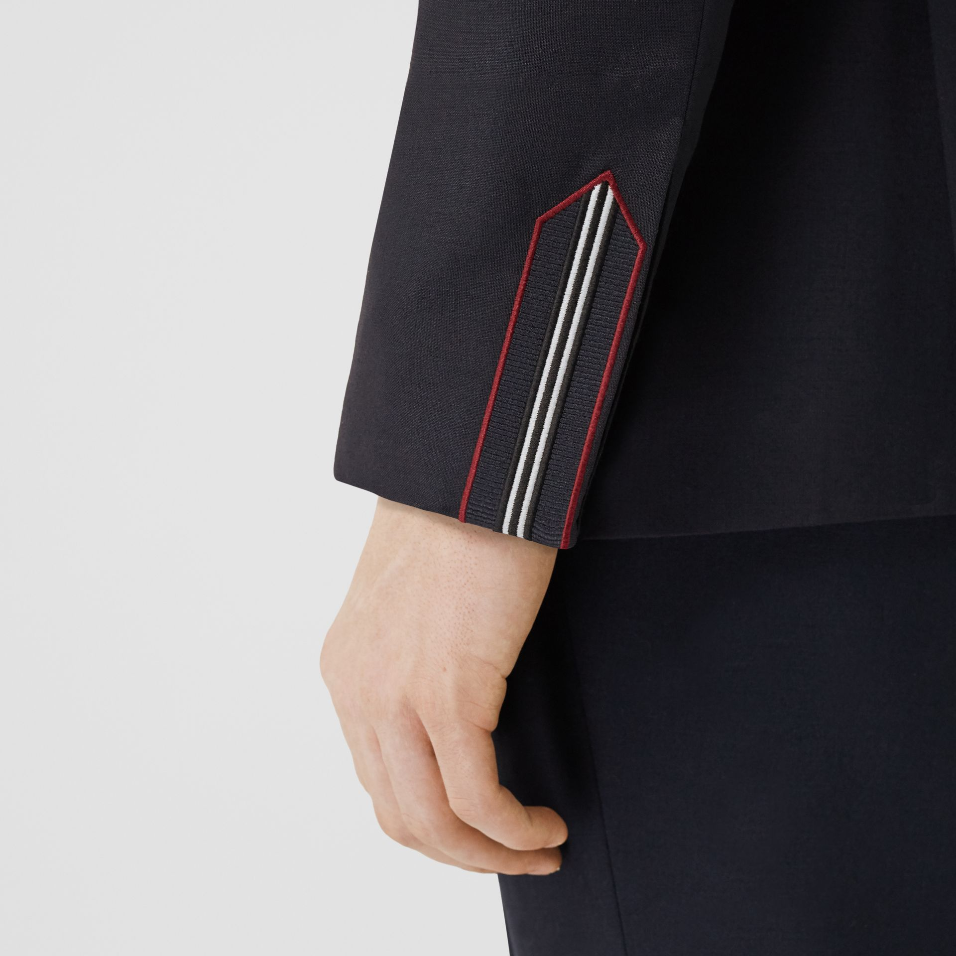 English Fit Stripe Detail Wool Mohair Tailored Jacket in Navy | Burberry - gallery image 4