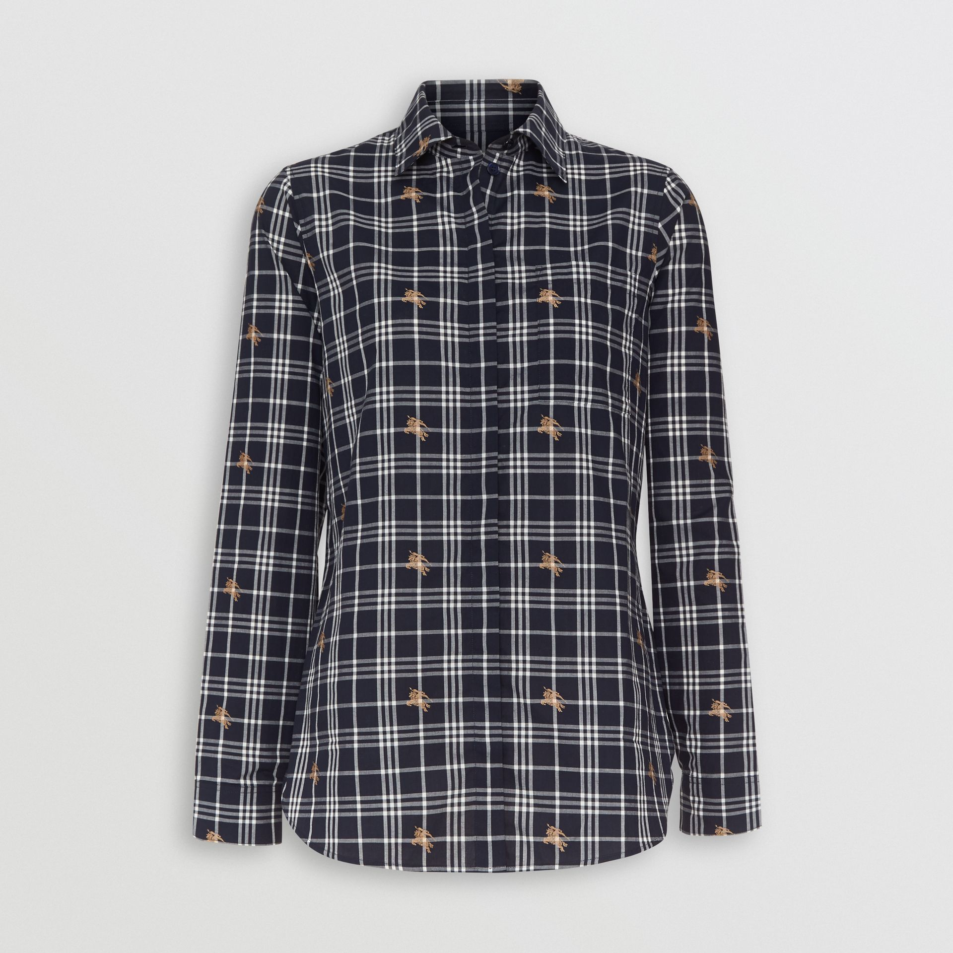 Equestrian Knight Check Cotton Shirt in Navy - Women | Burberry - gallery image 3
