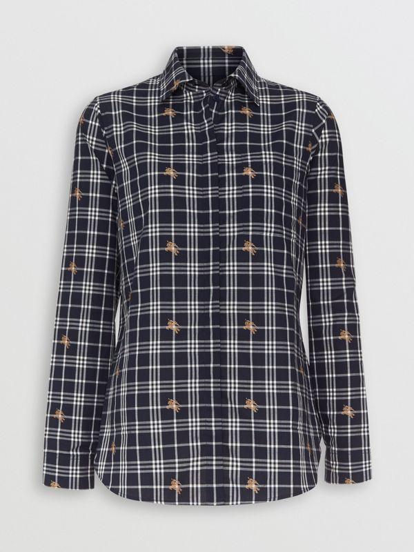 Fil Coupé Check Cotton Shirt in Navy - Women | Burberry - cell image 3