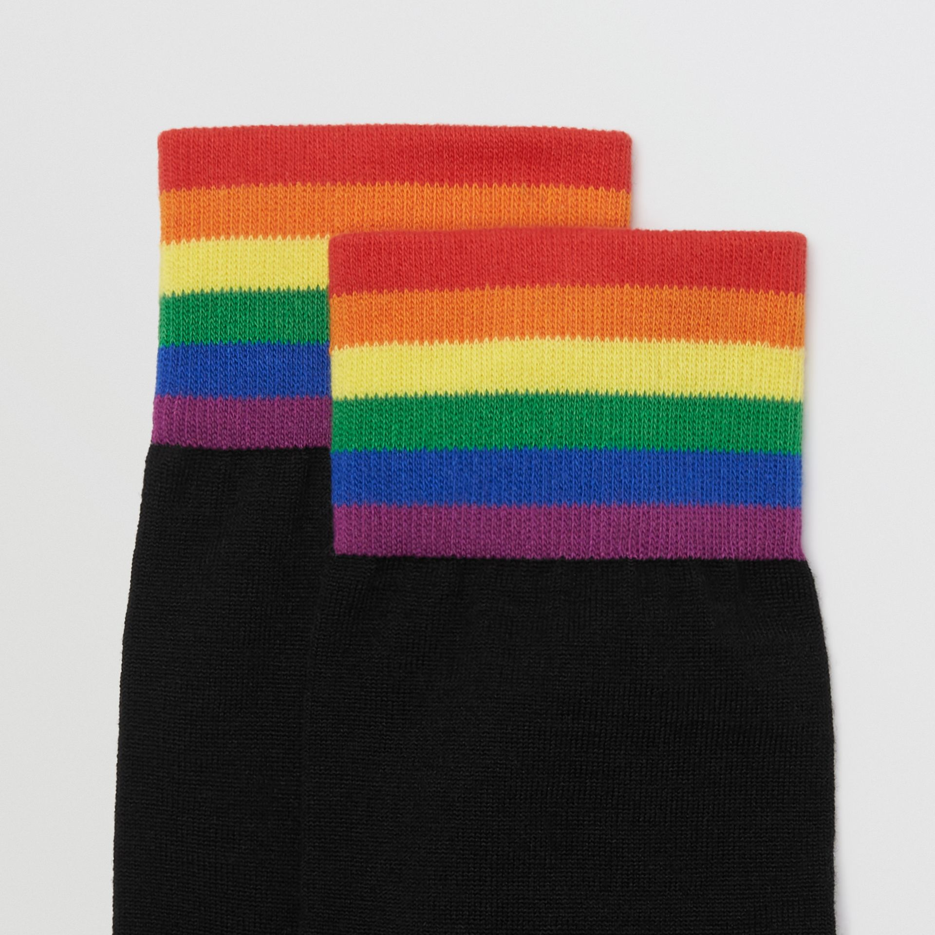 Striped Detail Merino Wool Cotton Blend Socks in Black/rainbow | Burberry - gallery image 1