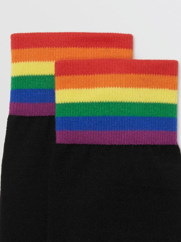 Striped Detail Merino Wool Cotton Blend Socks in Black/rainbow | Burberry - cell image 1