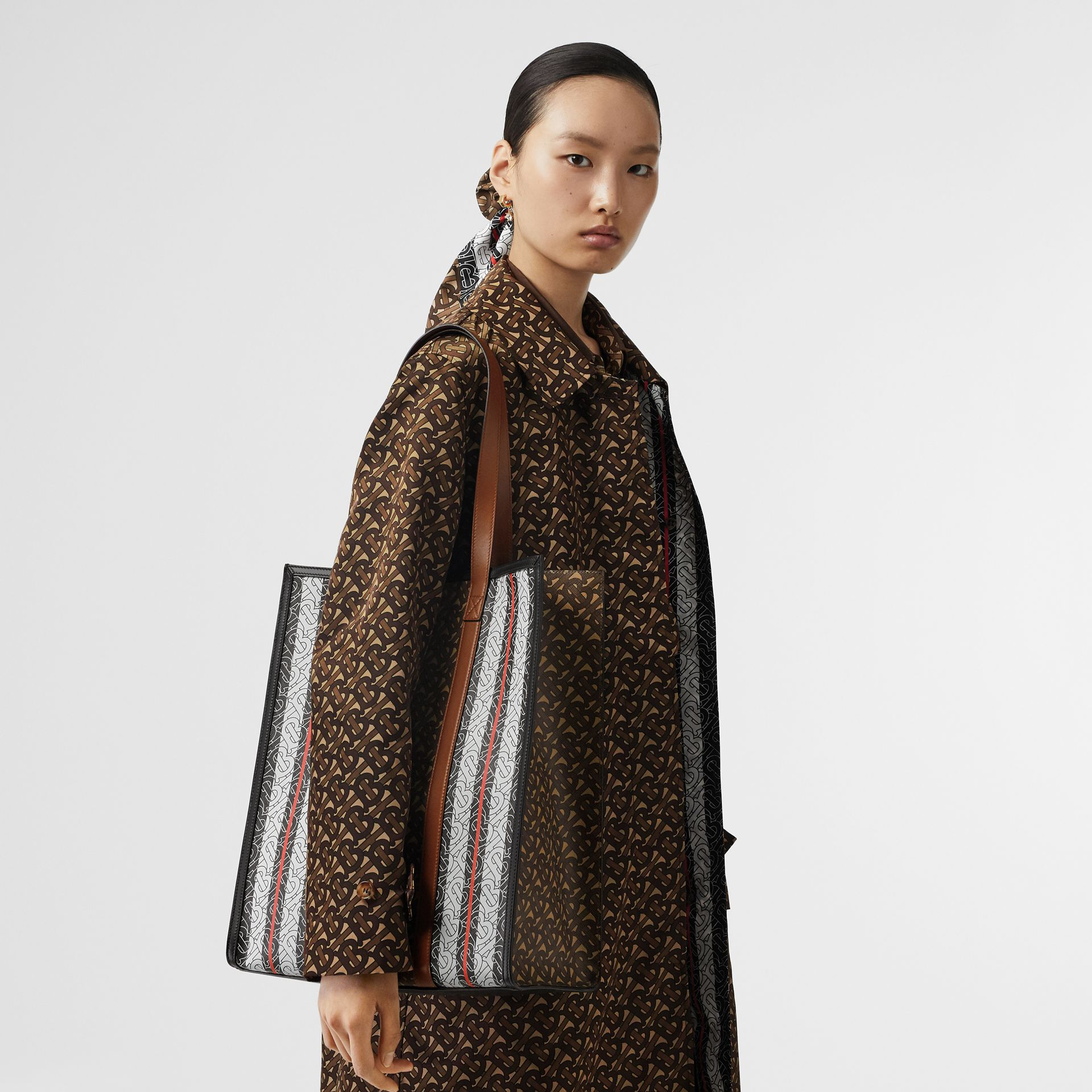 Monogram Stripe E-canvas Portrait Tote Bag in Bridle Brown | Burberry Singapore - gallery image 10
