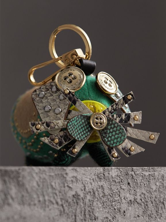 Trevor The Scottie Dog Cashmere Charm in Green Multi | Burberry United Kingdom - cell image 1